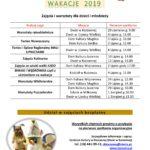 Wakacje 2019 – Zajęcia i warsztaty dla dzieci i młodzieży